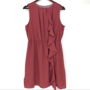 Zara Dress Large Ruffle Synched Waist Rustic Red